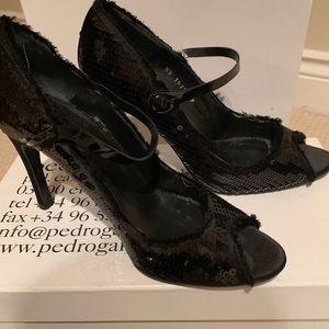 Pedro Garcia Melany black sequin peep toe pump